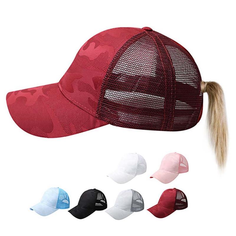 Women Sports Baseball Cap Sunshade Ponytail Hat Adjustable M
